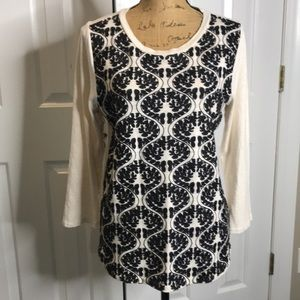 J.Crew Embroidered front Long Sleeve Top Sz.Large